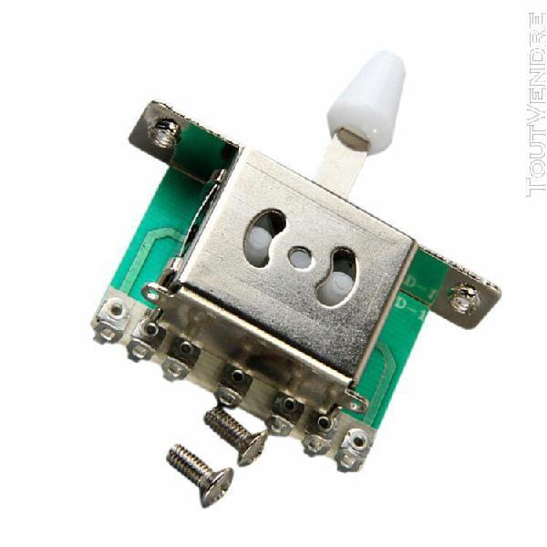 commutateur de lame 5 voies avec bouton blanc pour guitare