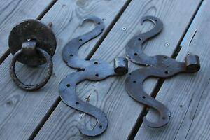 Heurtoir ancien crochet serrure acier fer forge chevaux