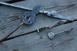 Serrure ancienne fer forge loquet clenche a bascule gache