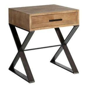 Table de chevet 1 tiroir métal/bois - brutus - l 50 x l 42