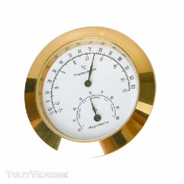 thermomètre et hygromètre rond doré pour etui coque de