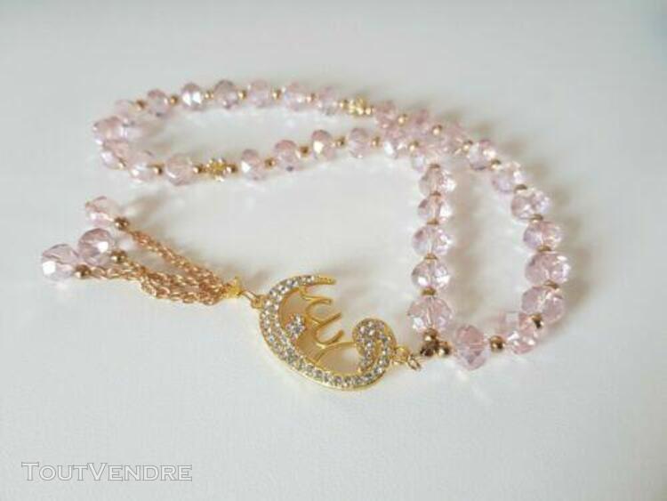 Bracelet chapelet de prière en perles rose pendentif doré