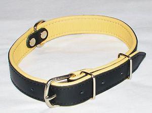 Collier chien noirbeige neuf en cuir 100% véritable 52 cm