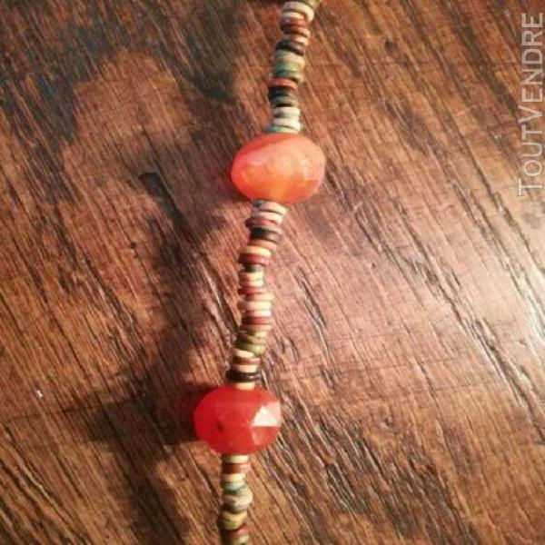 Collier en perles de tourmaline à facettes et quartz