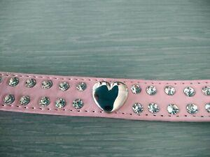 Collier rose cuir pu strass cristal coeur pour chien taille