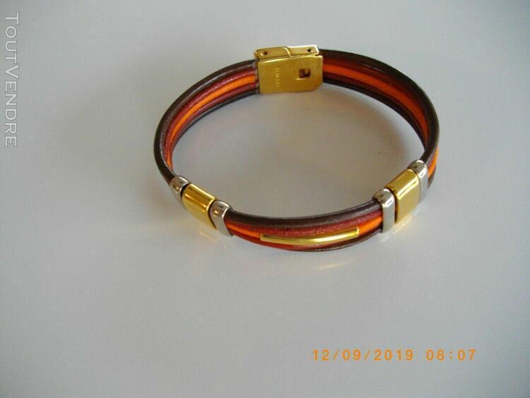 Parure collier boucle bracelet cuir et metal...jaune orange