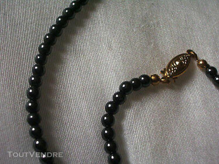 Parure perles hématite: collier + bracelet assortis