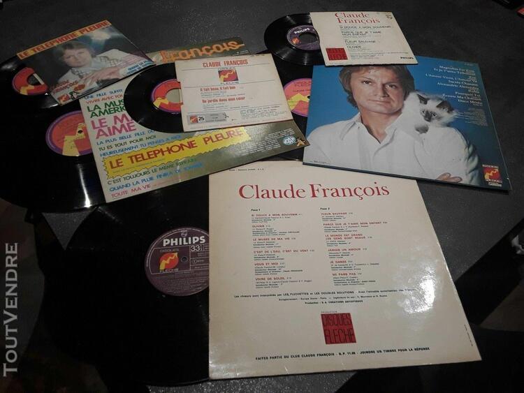 Claude françois, disques vinyles 3 x 33t + 3 x 45t + 1 cd