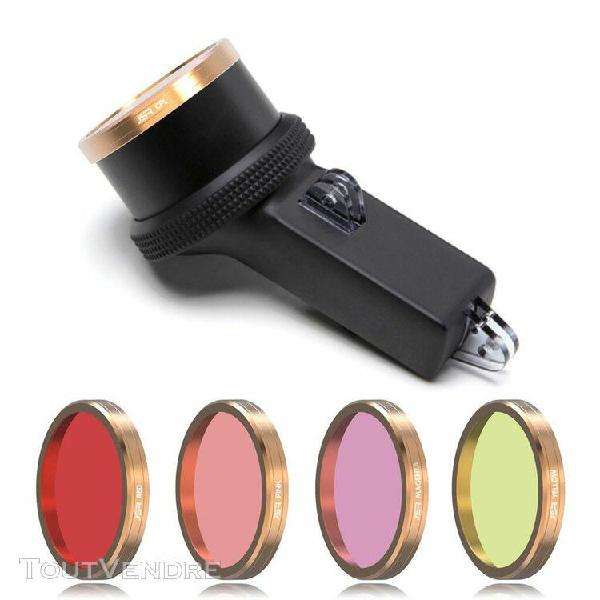plongée rouge + rose + magenta + filtres lentille jaune