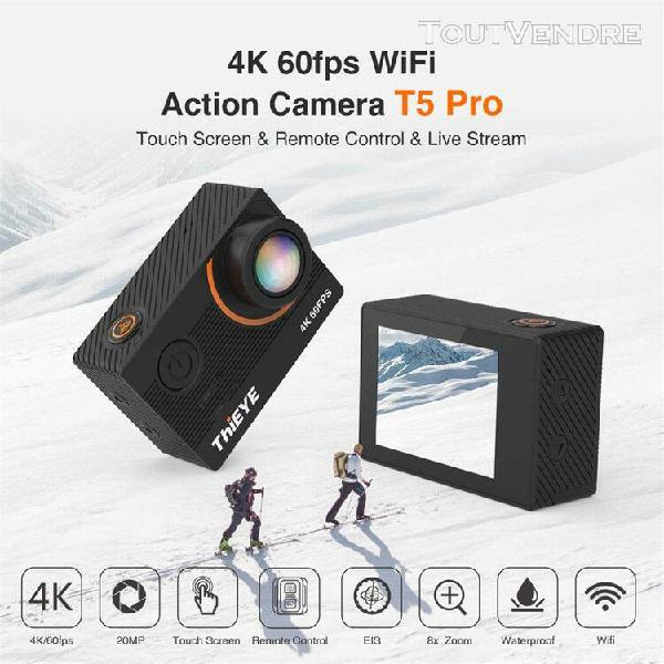 thieye t5 pro hd 4k 20mpultra wifi 60m action caméra
