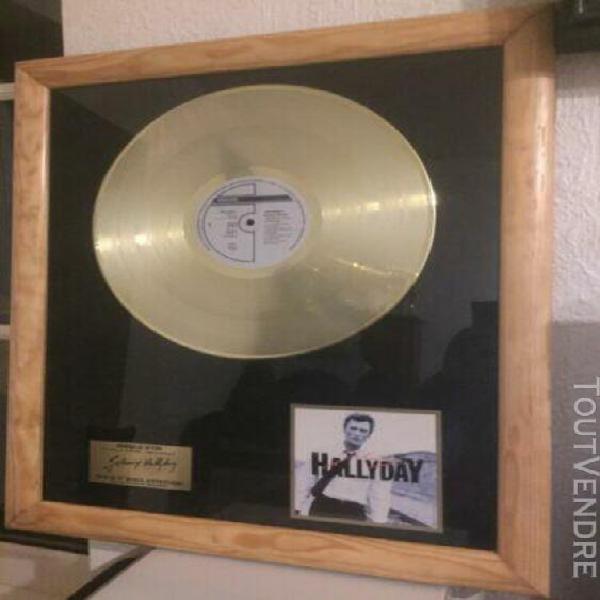 authentique disque d'or johnny hallyday avec certificat