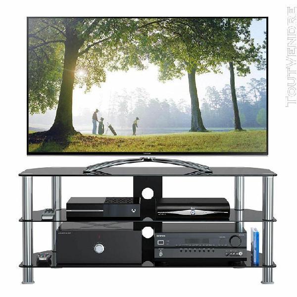 1home meuble tv en verre de sécurité noir aux ecrans