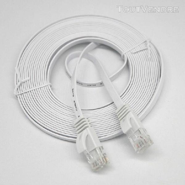 20m réseau ethernet rj45 cat6 lan câble plat utp patch