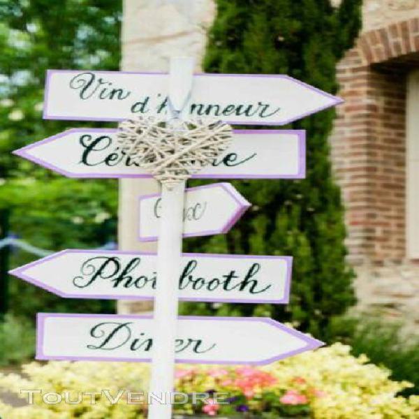 5 panneaux directionnels mariage en bois (réversible)
