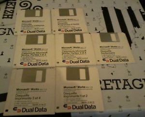 7 disquettes originales vintages microsoft works vers 1.1a