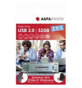 agfaphoto usb 2.0 32gb usb + micro usb 2.0 otg réf: 347776