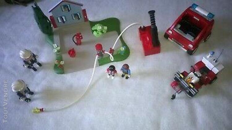 playmobil vehicules et centre entrainement pompiers