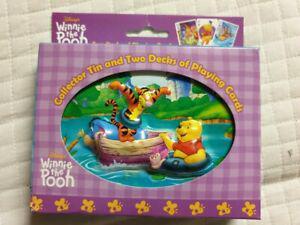 Jeu de cartes disney winnie the pooh metal box embossed 2 x