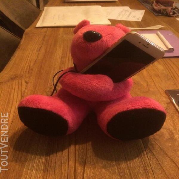 Enceinte pour téléphone ours rose