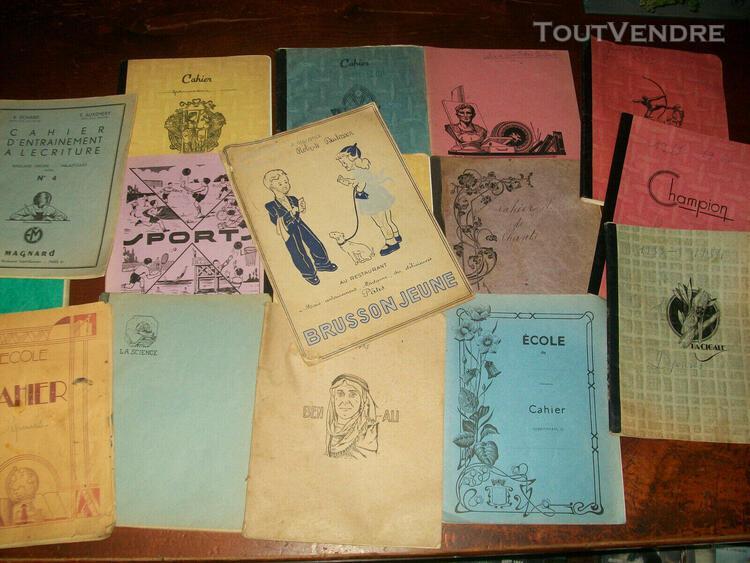 Lot de 10 cahiers d'ecole annees 1948 - 1963 + 5 cahier dive