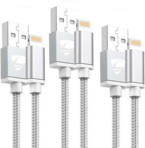 Chargeur iphone 2m [lot de 3] aioneus câble mfi certifié