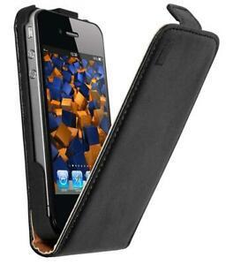 Mumbi etui à rabat en cuir pour apple iphone 4/4s noir 4s