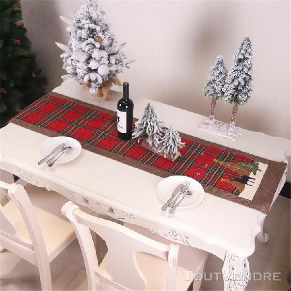 Noël brodé chemin de table blanc snowflakes xmas party