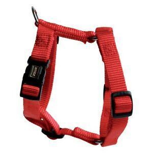 Harnais chien nylon réglable rouge tour cou 39 à 58 cm