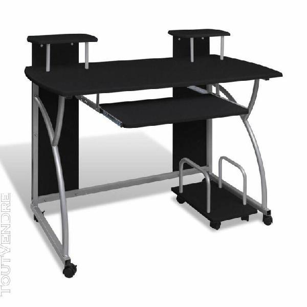 Table de bureau noire pour ordinateur avec étagère