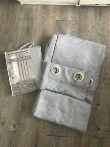 3 rideaux bleu gris occultant 140cm /250 cm neufs