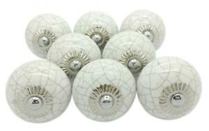 Blanc craquelé rond boutons de porte en céramique vintage