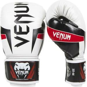 Gants de boxe venum elite - blanc noir et rouge taille 12oz
