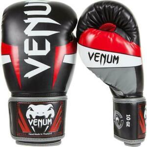 Gants de boxe venum elite - noir rouge et gris taille 12oz