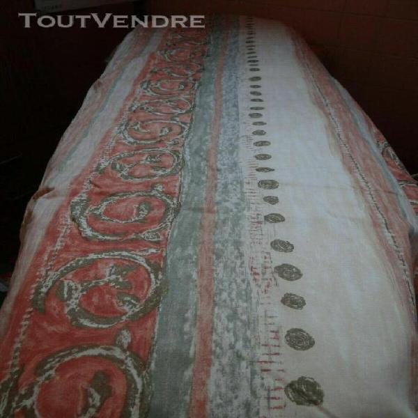 Double rideaux, avec ruflettes, tons orangés, 132 x 224