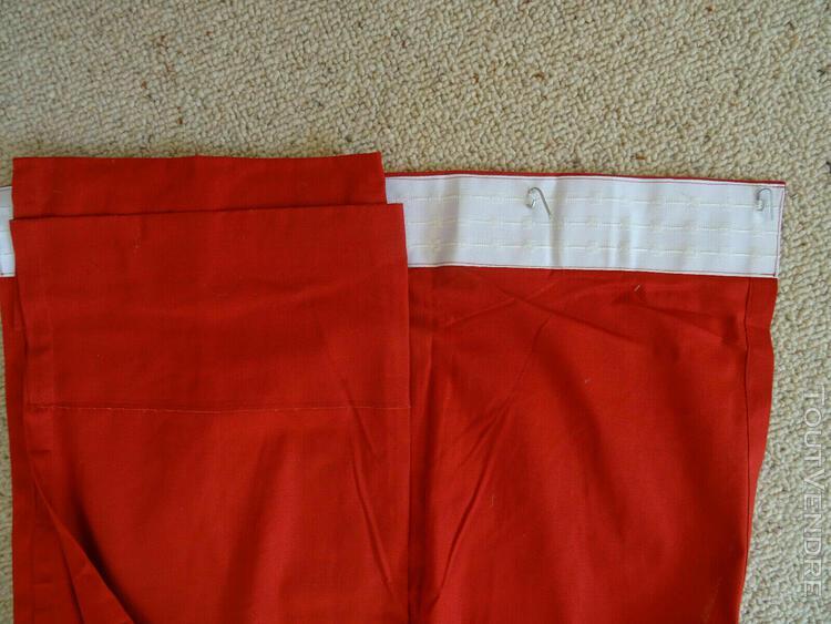 La redoute paire rideaux rouges 260 x 130 pur coton galon fr