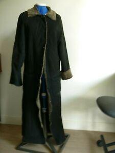Manteau noir femme en peau retournée