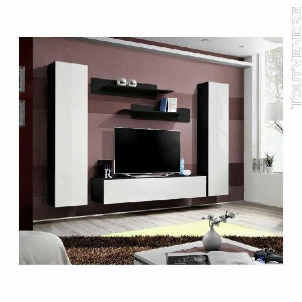 Meuble tv fly a1 design, coloris noir et blanc brillant. meu