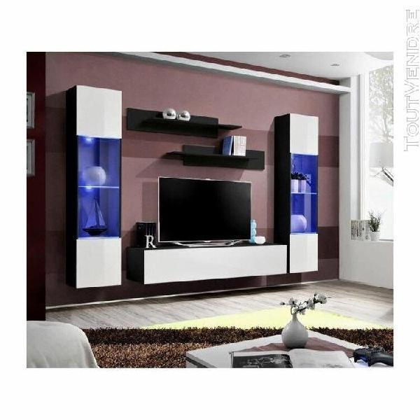 Meuble tv fly a3 design, coloris noir et blanc brillant + le