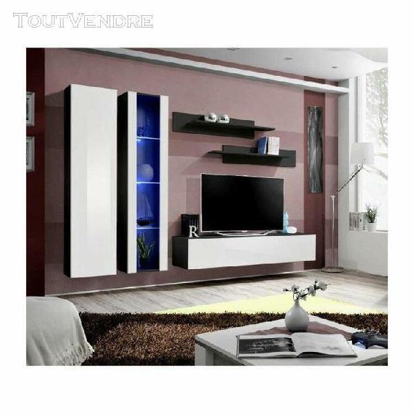 Meuble tv fly a4 design, coloris noir et blanc brillant + le