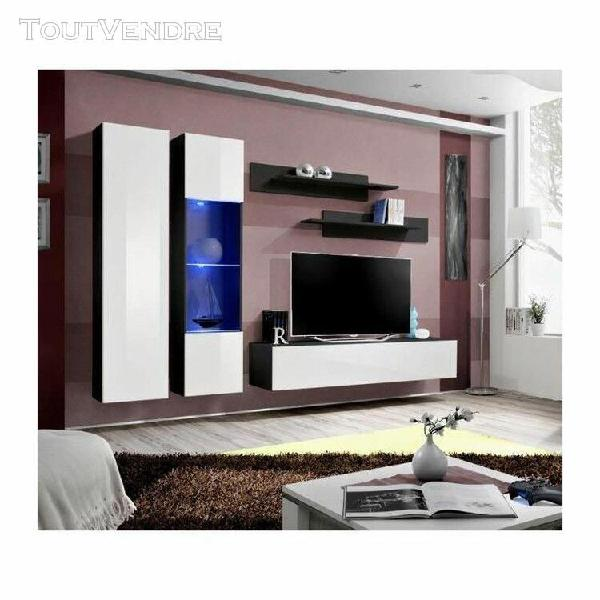 Meuble tv fly a5 design, coloris noir et blanc brillant + le