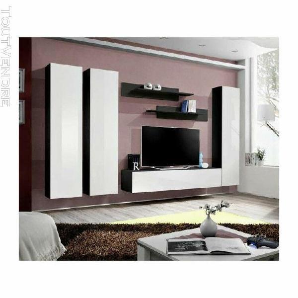 Meuble tv fly c1 design, coloris noir et blanc brillant. meu