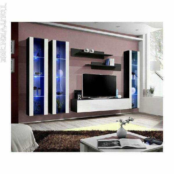 Meuble tv fly c2 design, coloris noir et blanc brillant. meu