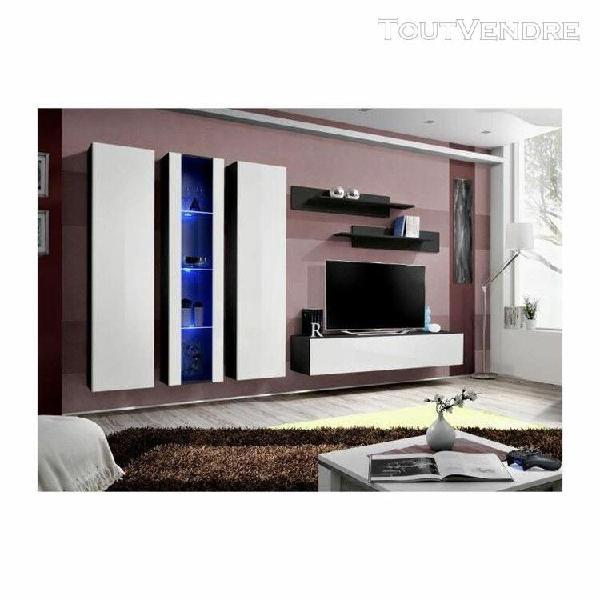 Meuble tv fly c4 design, coloris noir et blanc brillant. meu
