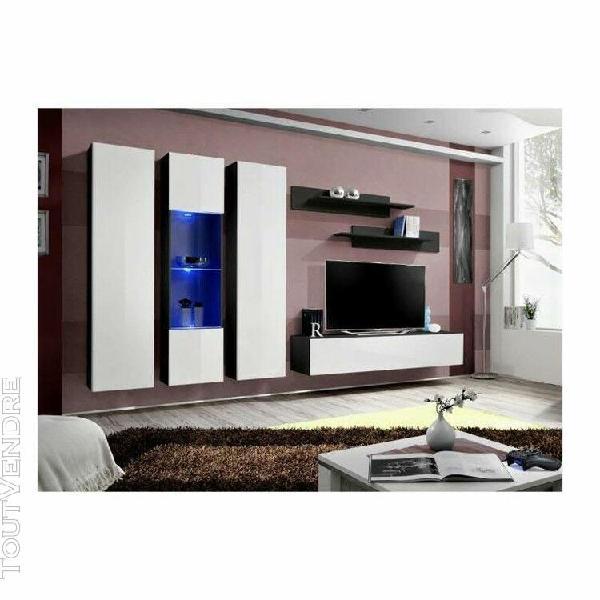 Meuble tv fly c5 design, coloris noir et blanc brillant. meu