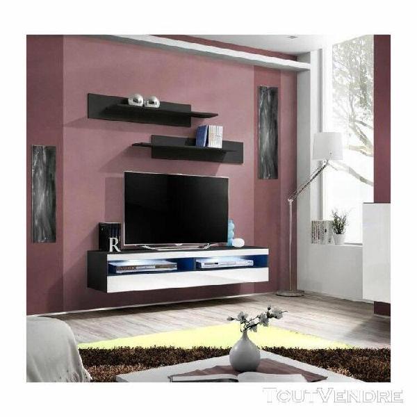 Meuble tv fly design, coloris noir et blanc brillant. meuble