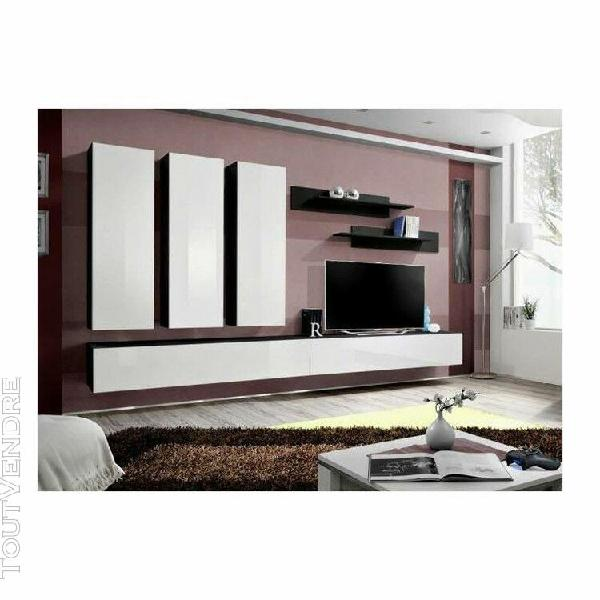 Meuble tv fly e1 design, coloris noir et blanc brillant. meu
