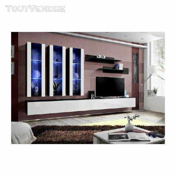 Meuble tv fly e3 design, coloris noir et blanc brillant. meu