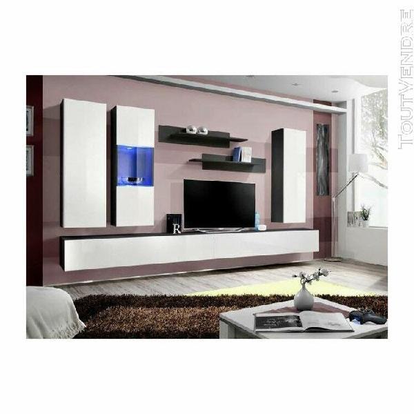 Meuble tv fly e5 design, coloris noir et blanc brillant. meu