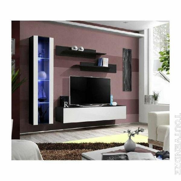 Meuble tv fly g1 design, coloris noir et blanc brillant. meu