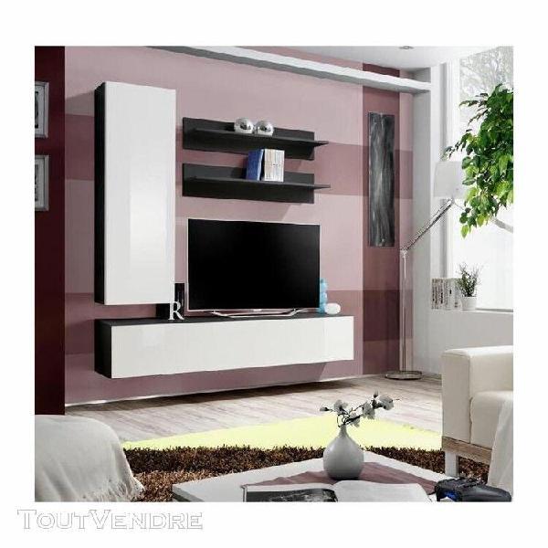 Meuble tv fly h1 design, coloris noir et blanc brillant. meu